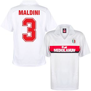 1988 AC Milan Away Retro Shirt + Maldini 3 (Retro Flock Printing)