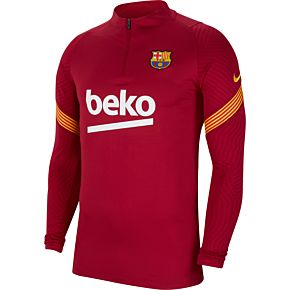 20-21 Barcelona Strike 1/4 Zip L/S Drill Top - Red