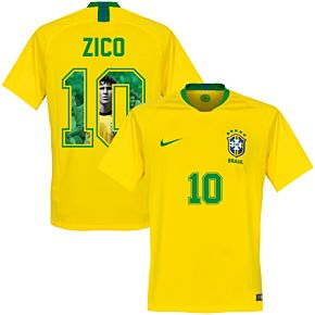 Brazil Home Zico 10 Jersey 2018 2019 (Gallery Style Printing)