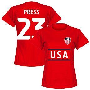 USA Press 23 Team Womens T-Shirt - Red