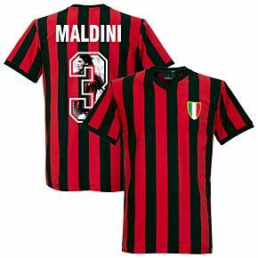1960's AC Milan Home Retro Shirt + Maldini 3 (Gallery Style Printing)