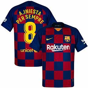 Nike Barcelona Home A.Iniesta Per Sempre 8 Jersey 2019-2020 (Fan Style Printing)
