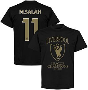 Liverpool 2020 League Champions Crest M. Salah 11 T-shirt - Black