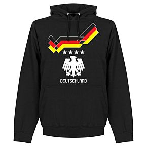 1990 Germany 4 Star Retro Hoodie - Black