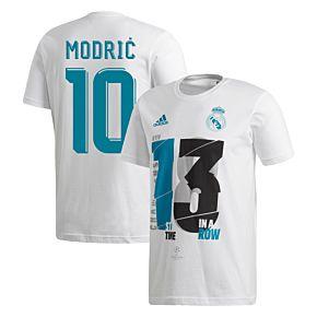 2018 Real Madrid C/L Winners Modric 10 Tee
