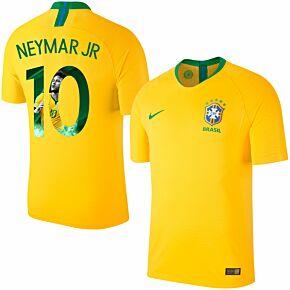 18-19 Brazil Home Shirt + Neymar 10 (Gallery Style Printing)