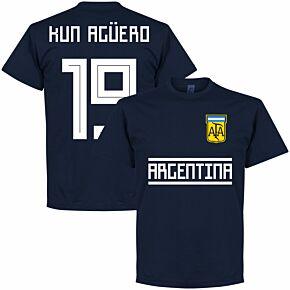 Argentina Kun Agüero 19 Team Tee - Navy