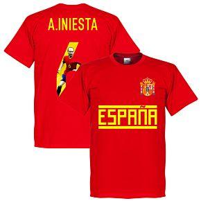 Spain A. Iniesta 6 Gallery Team Tee - Red
