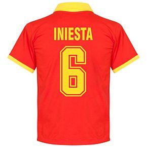 1970's Spain Home Retro Shirt + Iniesta 6 (Fan Style)