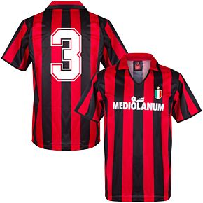 1994 AC Milan Home Retro Shirt + No.3 (Retro Flock Printing)