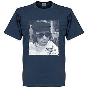 Jackie Stewart Portrait Tee - Denim Blue