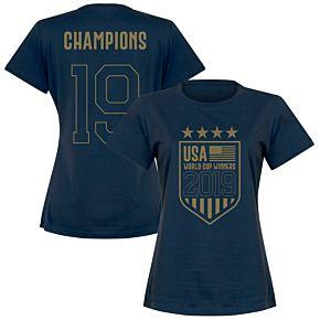 USA Womens World Cup Winners 2019 T-Shirt - Navy