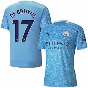 20-21 Man City Home Shirt + De Bruyne 17 (Premier League)