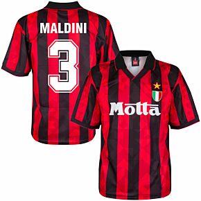 1994 AC Milan Home Retro Shirt + Maldini 3 (Retro Flock Printing)