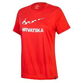 20-21 Croatia Womens Ground T-Shirt - Crimson