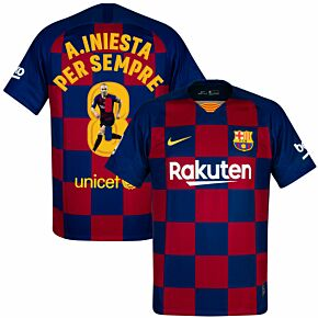 Nike Barcelona Home A.Iniesta Per Sempre 8 Jersey 2019-2020 (Gallery Style Printing)