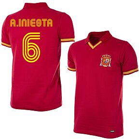 1988 Spain Retro Shirt + A. Iniesta 6 (Fan Style)