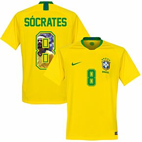 Brazil Home Socrates 8 Jersey 2018 2019 (Gallery Style Printing)