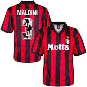 1994 AC Milan Home Retro Shirt + Maldini 3 (Gallery Style)