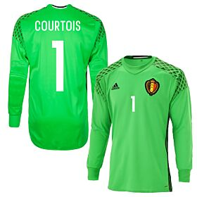 Belgium Home Courtois Goalkeeper Jersey 2016 / 2017 (Fan Style Printing)