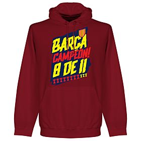 Barcelona Campion 8 de 11 Hoodie - Dark Red
