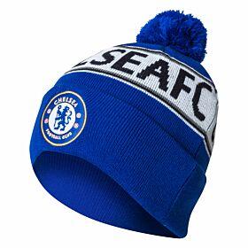 Chelsea Text Cuff Beanie Hat - Royal/White