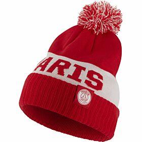 19-20 PSG Pom Beanie Hat - Red/White