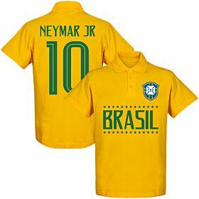 Brazil Team Neymar 10 Polo Shirt - Yellow