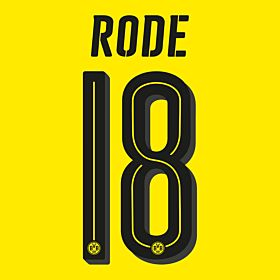 Rode 18 - Borussia Dortmund Home Official Name & Number 2016 / 2017